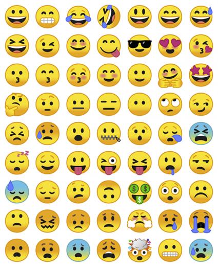 Diversos tipos de emoji