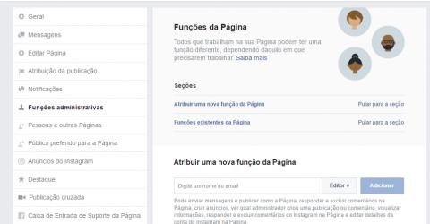 Captura de tela em área de funções da página do Facebook
