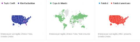 Exemplo de mapas de busca de termos no Google Trends