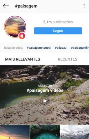 Exemplo de hashtag no Instagram