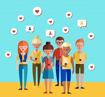 Desenho de pessoas compartilhando conteúdos na internet em alusão a viral