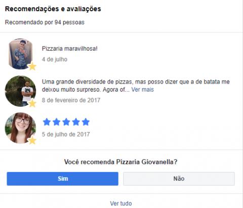 Exemplo de avaliações do Facebook.